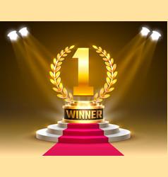 Winner 1 best podium award sign golden object vector