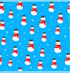 winter holidays seamless background with snowmen vector image