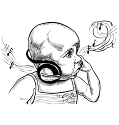 Baby with headphones vector image vector image