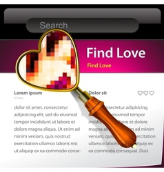 Magnifying Glass searching love website template vector image vector image