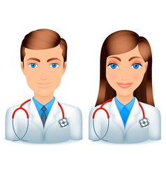 Male and female doctors vector image vector image