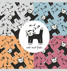 Pattern with cat and fish vector
