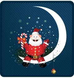 Santa on moon vector