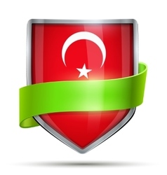 Shield with flag Turkey and ribbon vector image vector image