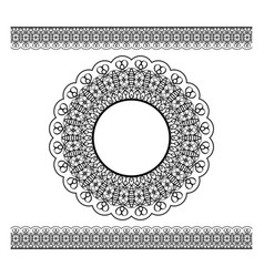 black lacy border and circle frame vector image vector image