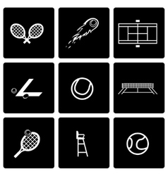 black tennis icon set vector image vector image