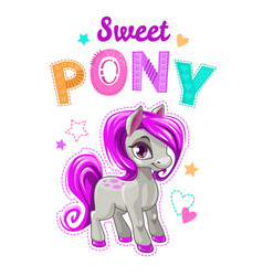 cute cartoon little horse with purple hair vector image