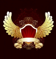 red shield with golden wings vector image