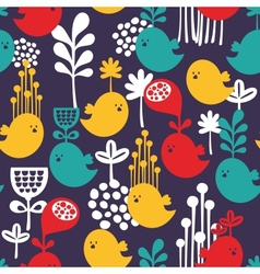 Seamless pattern with colorful cartoon birds vector image vector image