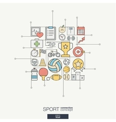 Sport integrated thin line symbols Modern color vector image vector image