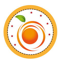 color circular frame with abstract orange fruit vector image