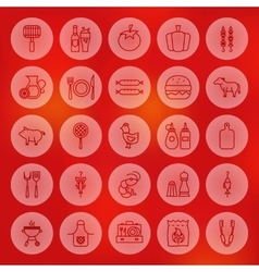 Line Circle Barbecue Icons vector image