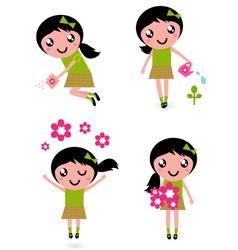 spring flower girl vector image