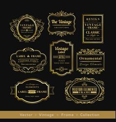 vinage gold retro logo frame badge design element vector image
