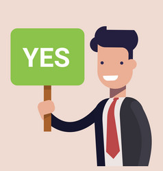 Businessman or manage keep a sign in hands with vector