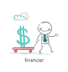 financier carries a wheelbarrow with a dollar sign vector image