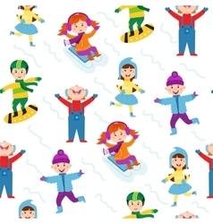 Winter kids seamless pattern vector image