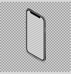 3d isometric black smartphone mockup with blank vector