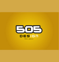 505 number numeral digit white on yellow vector