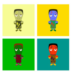 assembly flat zombie men vector image