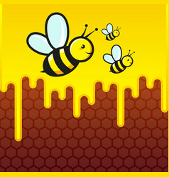 bees are flying against background of vector image