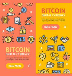 bitcoin digital currency banner vecrtical set vector image