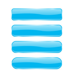 blue glass buttons shiny rectangle 3d icons vector image