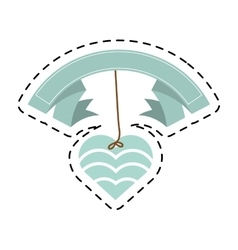 Blue heart hanging banner romantic cut line vector