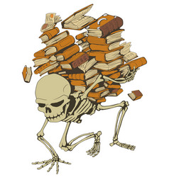 Book pile skeleton color vector
