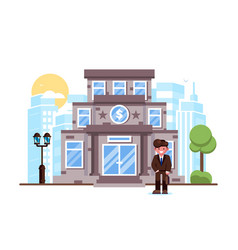 businessman standing bank building facade exterior vector image