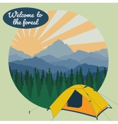 Camp in forest vector