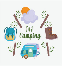 Camping trailer rucksack vacations activity vector
