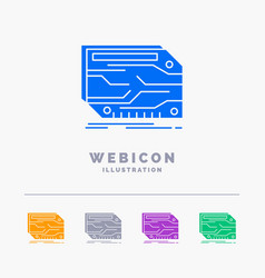 card component custom electronic memory 5 color vector image
