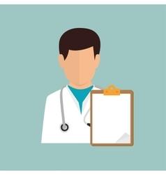 Cartoon doctor male clipboard report vector