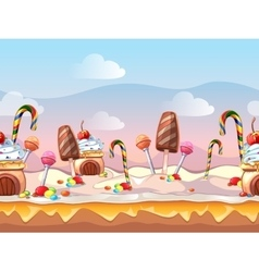 Cartoon fairy tale candy seamless vector