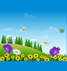 Cartoon insects in the garden vector