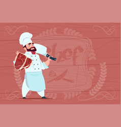 chef cook holding cleaver knife and meat smiling vector image