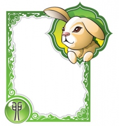 chinese horoscope frame series rabbit vector image