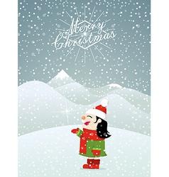 Christmas background little girl enjoying snow vector image