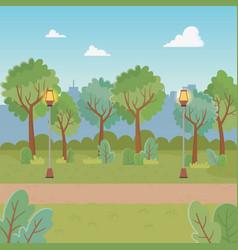 city park scene with lanterns vector image