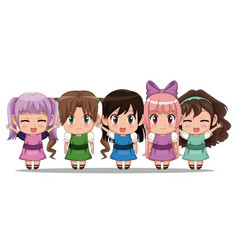 colorful set five full body cute anime tennagers vector image
