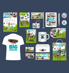 Corporate identity template hunting club vector
