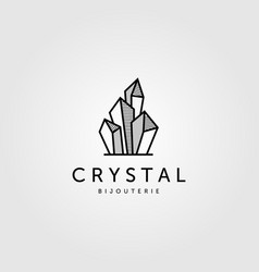 Crystal rock stone logo jewelry design vector