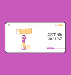 Customers care and loyalty program landing page vector