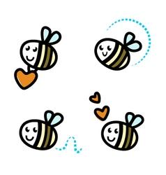 Cute bee characters vector