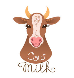 Cute cow portrait cow milk inscription calf vector