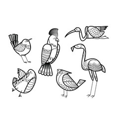 cute hand drawn birds set coloring page vector image
