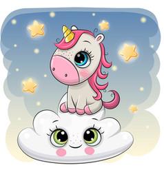 Cute unicorn a on cloud vector