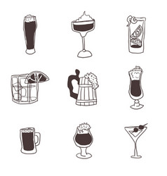 Doodles drawings of alcoholic drinks in glasses vector