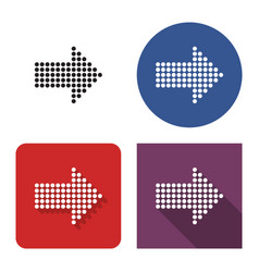 dotted icon right direction arrow in four vector image